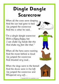 Dingle Dangle Scarecrow Song Sheet – The SparkleBox – Artsupplies Kindergarten Songs, Preschool Music, Fall Preschool, Preschool Action Songs, Space Preschool, Preschool Ideas, Nursery Activities, Rhyming Activities, Preschool Fingerplays