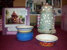"Seasonal items - while supplies last. Country Casual 2-Dish Simmer pot, Light House Ceramic Shade 6""x10.5"". www.pinkzebrahome.com/SprinkleScentsation"