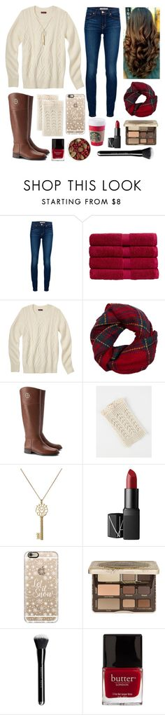 """""""Christmas Card Photos // 5 Days of Christmas"""" by kickitap ❤ liked on Polyvore featuring J Brand, Christy, Fevrie, Tory Burch, Aurélie Bidermann, NARS Cosmetics, Casetify, Too Faced Cosmetics, Butter London and Pier 1 Imports"""