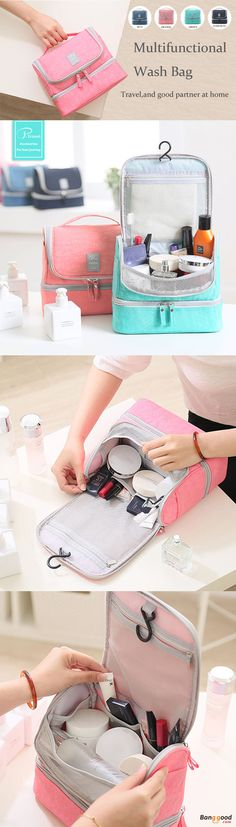 US$21.39+Free shipping.Multifunctional Wash Bag, Travel Bags, Storage Bags. Waterproof, Large Capacity, Material: Nylon.   Color: Dark Blue, Blue, Light Pink, Pink, Green.
