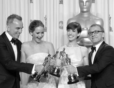 Jennifer Lawrence, Daniel Day-Lewis, Anne Hathaway, Christoph Waltz. Oscar Winners!