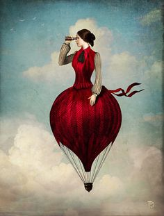* by Christian Schloe / women ballooning - exaggerated but natural attribute of the skirt structure, but indicative of women's entrepreneurial abilities