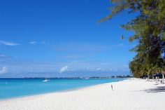 Seven Mile Beach on Grand Cayman's west side. A white coral-sand beach. No photo shop needed...