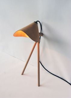 """The Sara Lamp"" by David Ericsson // Leans against the wall. Beech wood and vegetable-tanned leather"