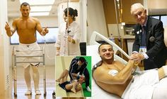 PICTURES: French leg-break gymnast Samir Ait Said back on his feet -    Injured French gymnast Samir Ait Said is back on his feet - showing his determination to walk again after a horrifying  Olympic  injury.     After ...