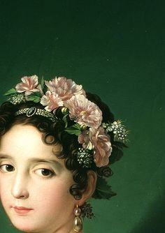 Flowers in hair. old school classic flowers in hair style. Manuela González Velázquez, playing the piano by Zacarías González Velázquez, 1820 (detail) The Piano, Flower Headdress, Renaissance Paintings, Edward Hopper, Pre Raphaelite, Historical Costume, Woman Painting, Love Art, Art History