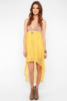 Taupe and Mustard Color Blockbuster Maxi Dress at tobi #summerstyle