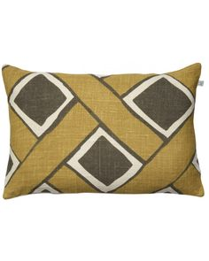 Cushion Cover Linen Bali - Spicy Yellow/Grey 40 x 60 cm. Made from linen and hand printed. This linen cushion covers is made of a special 2 ply linen woven at a small cottage industry in eastern India. The linen is then hand printed in northern India Cushion Covers, Bali, Cushions, Throw Pillows, Prints, Cushion, Pillows, Pillow Shams, Decorative Pillows