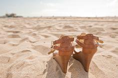 Sandals on the beach in Santa Monica!