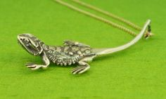 Silver Bearded Dragon Charm Necklace
