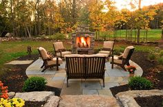 An outdoor fireplace design on your deck, patio or backyard living room instantly makes a perfect place for entertaining, creating a dramatic focal point. Backyard Patio, Backyard Landscaping, Cozy Patio, Nice Backyard, Modern Backyard, Outdoor Rooms, Outdoor Living, Outdoor Patios, Outdoor Stone