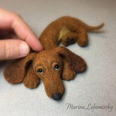 Teckel rode teckel Puppy hond naald vilten speelgoed #feltedpuppy