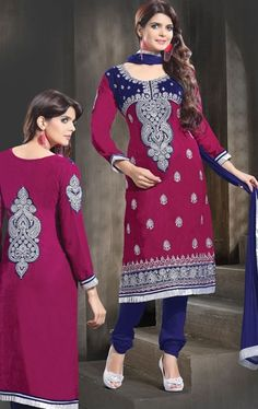 Fantastic Fuschia Color Churidar Kameez