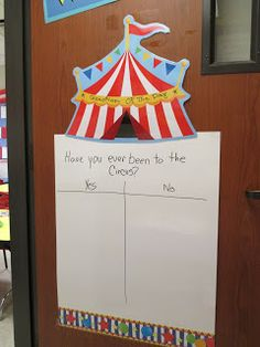 This years' summer fun theme at Weekday Learning Center  is Under The Big Top! Allison, my co-teacher,and I had a ball decorating our roo...