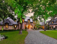 french country home designs warm lighting exterior