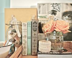 Lovely vignette of vintage books, and flowers #vignette #books #flowers