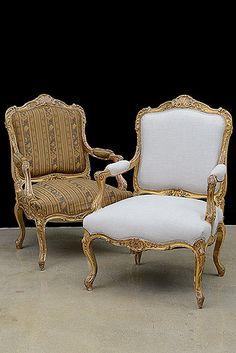Par de estilo antiguo francés Louis XV Giltwood Sillones de Neuilly-Sur-Seine