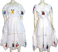 Fiesta White Cotton Dress by Nelda's Vintage Clothing