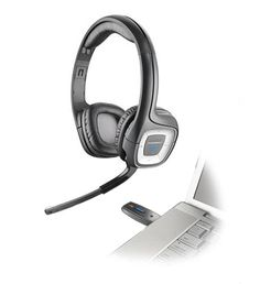 Plantronics Plantronics 80930-21 Wireless PC Stereo Headset. Plantronics digital wireless stereo headset.Take full advantage of PCs internet calling and audio capabilities in full-range stereo. Dual 40mm speakers deliver full-range stereo sound. Wireless connection with 40-foot range. On-ear controls for volume adjustment and controlling tracks on iTunes and Windows Media Player. Noise-canceling microphone with Fast Mic Mute feature that automatically mutes the sound when the boom is…
