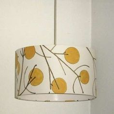 Cover lampshade with wallpaper (this one sold on etsy) Wallpaper Crafts, Retro Wallpaper, Wallpaper Samples, Wallpaper Ideas, Yellow Lamp Shades, Dyi, Cover Lampshade, Handmade Lamps, Antique Lamps