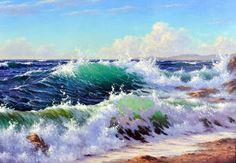 """картина маслом """"Набегающие волны (Мальцев Е.)"""""""