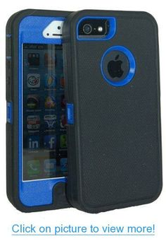 Iphone 5 Body Armor Defender Case Comparable to Otterbox Defender Series Black on Blue   Save the Ta Tas Silicone Bracelet and Cube Charger