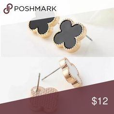 """Gold Toned Black Clover Stud Earrigs Gold Toned approx 1/2x1/2"""" Kat's Boutique Jewelry Earrings"""
