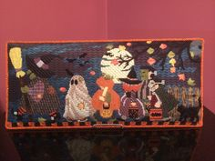 It's not too early to start stitching this adorable Halloween March for next year. Stitch guide and threads are also available! International Quilt Festival, Needlepoint, Happy Halloween, It Is Finished, Quilts, Easel, Stitching, Tokyo, March