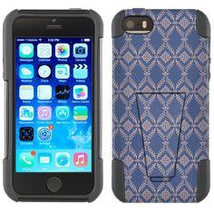 Apple iPhone 5 Hybrid Stand Case - Victorian Wallpaper Tan on Cyan Blue