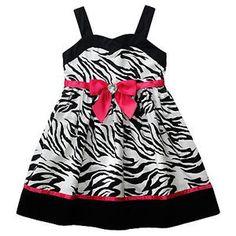 NWT YOUNGLAND dress girl PINK BOW Zebra black Animal print Easter ...