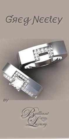 Brilliant Luxury * Greg Neeley Square Wrap Wedding Set