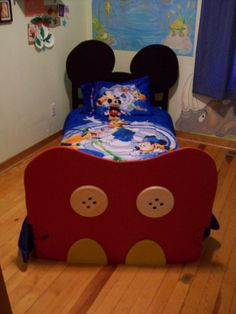kids mickey bed. head and foot boards jigsawed mdf boards