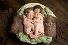 Newborn boy and girl twins light sage green, tan, brown, and cream back-lying holding hands pose | Bella Rose Portraits Southern California San Diego County newborn and baby photographer photography posing techniques