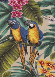 30mamo Birds - Parrots and Macaws with orchid flowers, cotton apparel fabric. Add Discount code: (Pin10) in comment box at check out for 10% off sub total at BarkclothHawaii.com