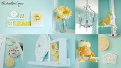 Teal with yellow and white accents? A baby room