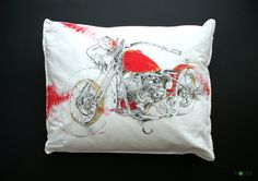 Bobber Motorcycle Pillowcase Custom motorcycle art by KropkaDesign