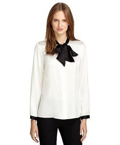 3048daf3ac8191 LOVEEEE this Silk Bow Blouse from BrooksBrothers  228 Brooks Brothers  Women
