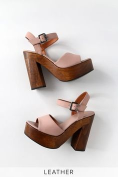 Stand out from the crowd in the Lulus Lolita Leather Powder Pink Nubuck Wooden Platform Heels! These trendy heels have a genuine suede peep-toe upper. Sock Shoes, Cute Shoes, 70s Shoes, Women's Shoes, Mustard Shoes, Mens Shoes Uk, Pink Heels, Platform High Heels, Powder Pink
