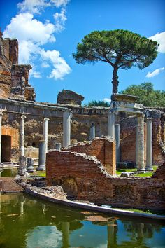Ruins of the Emperor Hadrian's palace near Tivoli, Italy.