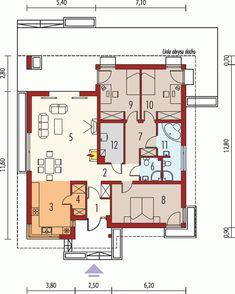 DOM.PL™ - Projekt domu AC Bob CE - DOM AE9-17 - gotowy koszt budowy Four Bedroom House Plans, Cottage Floor Plans, Small House Plans, Country House Design, Country Style House Plans, One Storey House, Single Story Homes, Story House, Home Design Plans