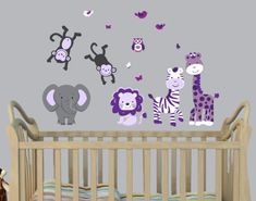 Mini Jungle Wall Decal for Nursery in Purple & Gray with Expedition Monkeys, Elephant and Lion Nursery Decals and More http://www.amazon.com/dp/B00HZTQAIA/ref=cm_sw_r_pi_dp_J9ztub038CQP6