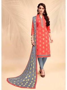 d2913f8cde Add richer looks to your persona in this Stylish Peach Cotton Churidar Suit.  The ethnic print work on the attire adds a sign of beauty statement to your  ...