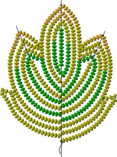 Схема листика (во французской технике)   biser.info - Бисер и бисероплетение