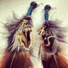 #jewellery #vintage #boho #vintageluxe #handmade #earrings #bohemian #feather #fashion #charm #natural #cross #gold