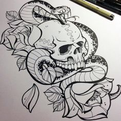 Skull snake flowers tattoo design