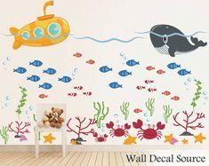 Items similar to Under The Sea - Submarine Wall Decal - Ocean Decals - Whale Decals - Submarine Decals - Fish Decals - Crab Decals - Under the Sea Decals on Etsy Monogram Wall Decals, Diy Wall Stickers, Vinyl Wall Decals, Ocean Themed Nursery, Nursery Themes, Custom Vinyl, Under The Sea, Wall Murals, Playroom