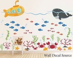 Under The Sea - Submarine Wall Decal - Monogram Wall Decal via Etsy