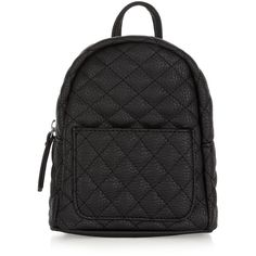 New Look Black Quilted Curved Mini Backpack (€16) ❤ liked on Polyvore featuring bags, backpacks, black, quilted backpack, knapsack bag, mini rucksack, pocket bag and backpack bags