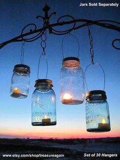 Mason Jar candle Lights | 30 Candle Lantern Lids DIY Wedding Mason Jar Lanterns, Hanging Candle ...