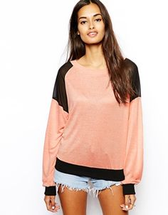 Glamorous Slubby Knit Jumper with Contrast Patches